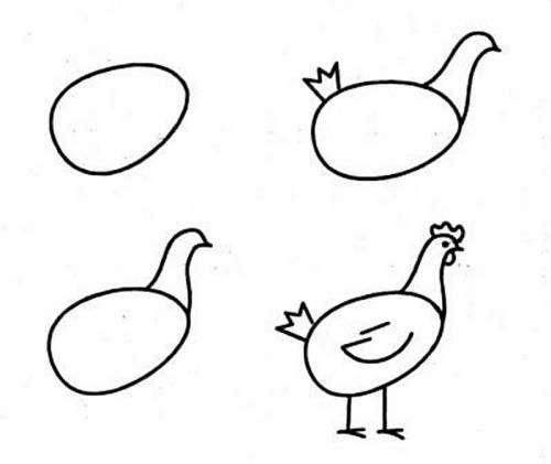 Рисовать курицы поэтапно