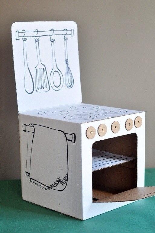 Как сделать для кукол из картона кухню для