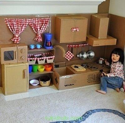 Мебель из картонных коробок для детей своими руками