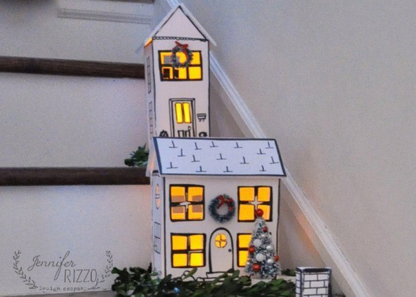 Новогодние домики для декора + шаблоны