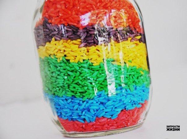 Как сделать цветной рис для творчества