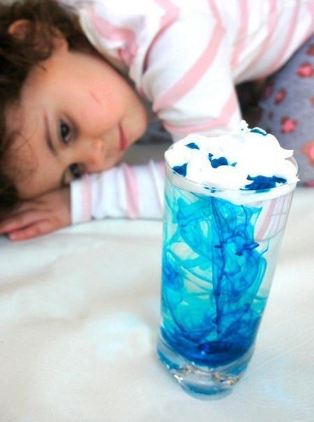 Опыт для детей: «дождик в стакане»