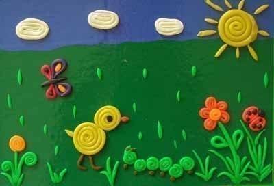 Картины из пластилиновых жгутиков