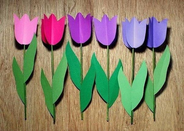 Тюльпаны из цветного картона