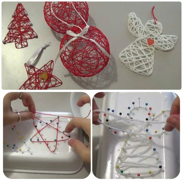 Делаем рождественские фигурки с помощью булавок, пенопластовой тарелки и клея