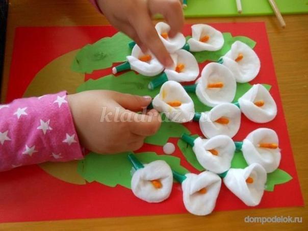 Из ватных дисков! сделайте с детьми! им понравится