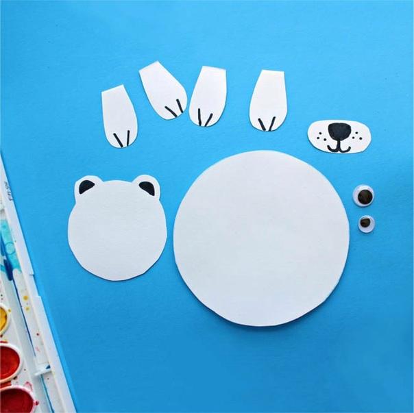 """Аппликация для малышей """"полярный медведь""""."""