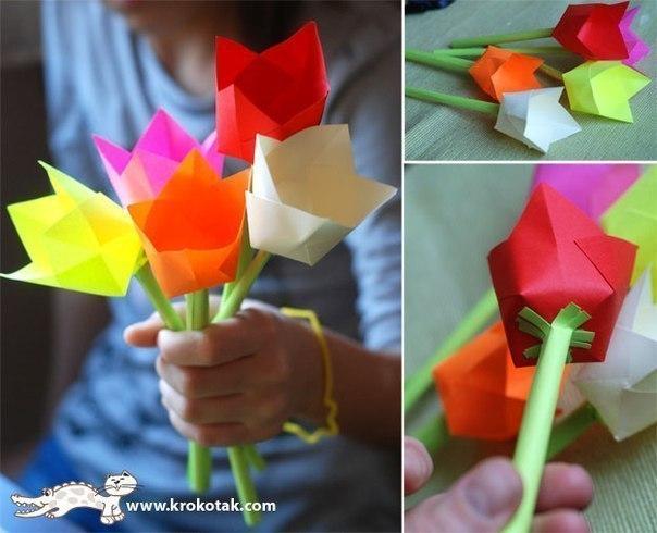 Тюльпаны из цветной бумаги