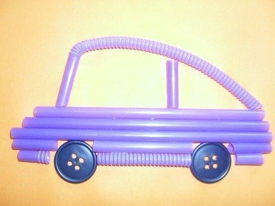 Машинки из трубочек. интересная идея.