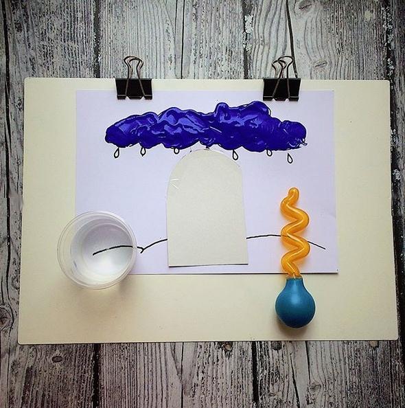 Нетрадиционные техники рисования. для создания тучки нам понадобилось: