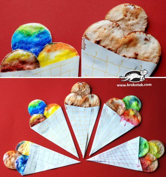 Мороженое из бумаги и ватных дисков