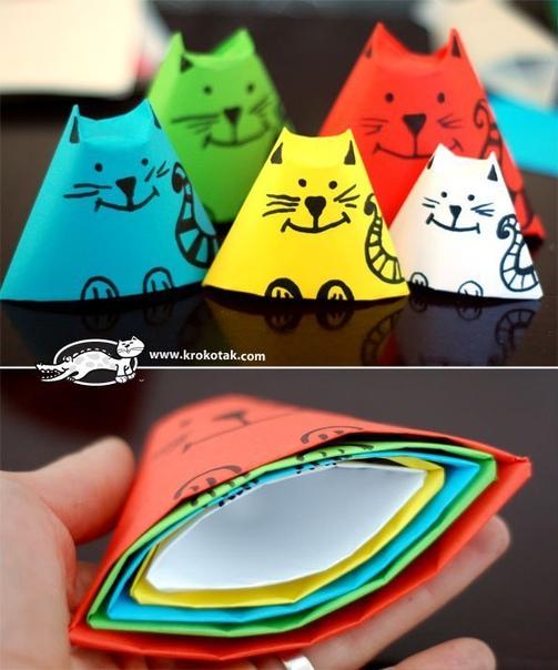 Коты-матрёшки из бумаги