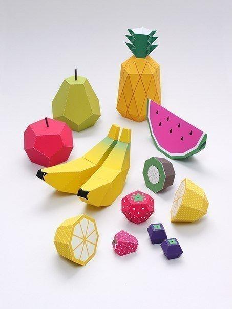 Забавные объёмные поделки из бумаги: сочные фрукты.