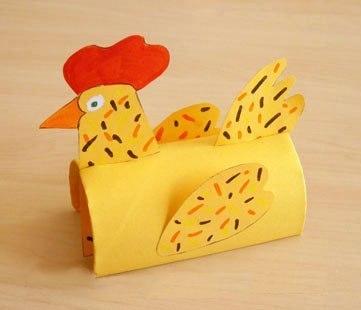 Курочка из картонного рулончика