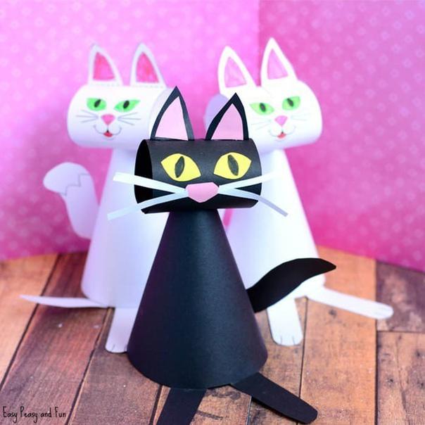 Котики из бумаги. шаблон.