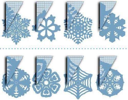 Снежинки из бумаги. схемы.