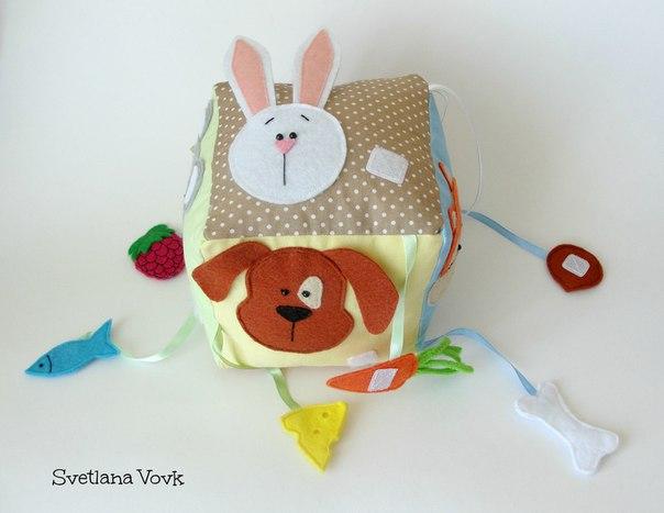 Как сшить развивающий кубик для малыша + выкройки