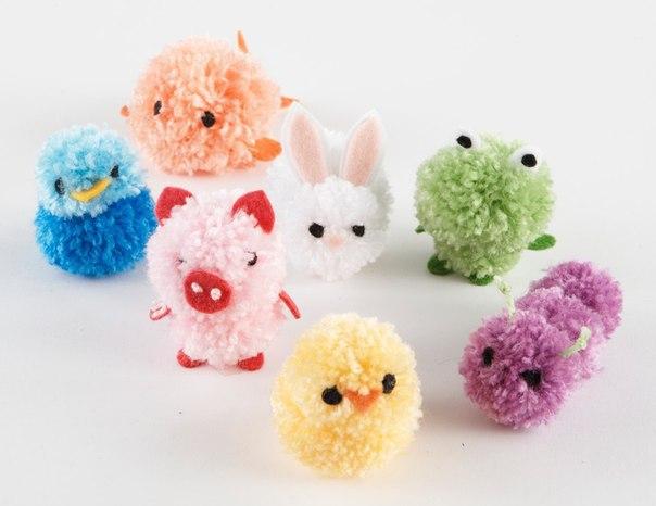 Забавные игрушки из помпонов своими руками