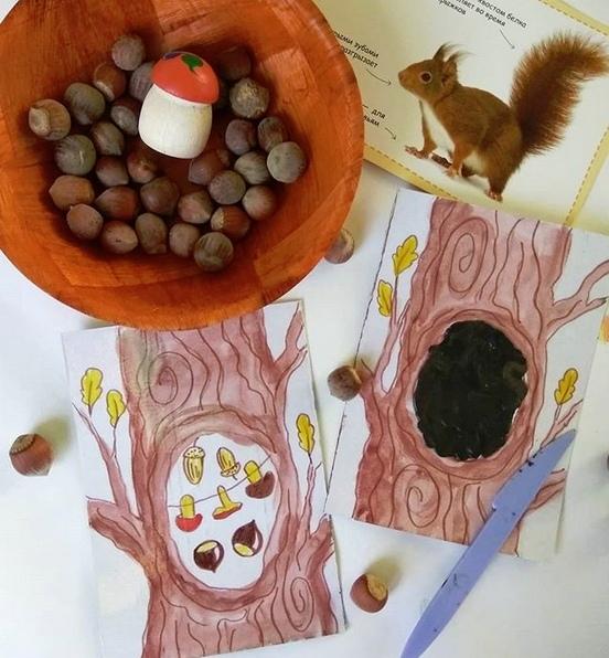 Осенние игры для детей. ищем, что белка спрятала в дупле