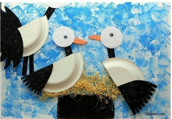 """Поделки из одноразовых тарелок """"птицы"""""""