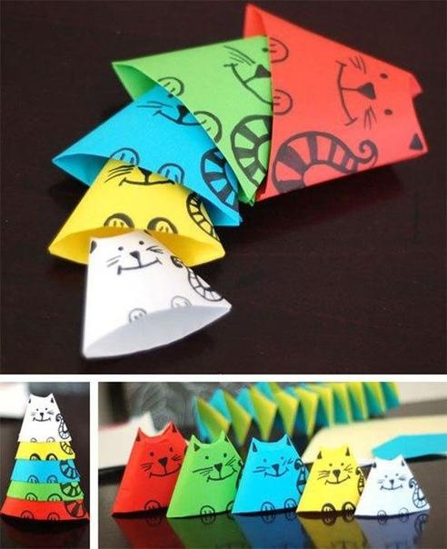 Кошки-матрёшки из цветной бумаги