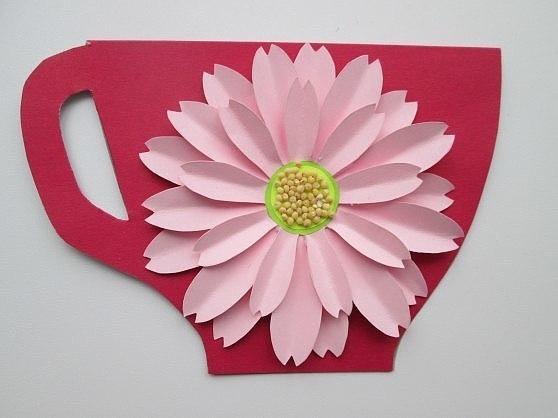 Открытка «чашечка с цветком» ❤