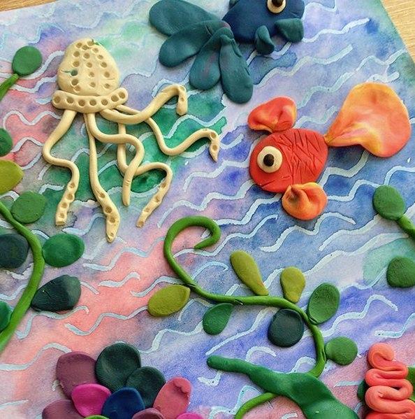 Поделки на морскую тему. подводный мир из пластилина