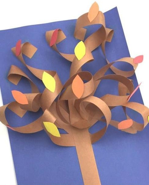 Объемная аппликация из бумаги на тему осень
