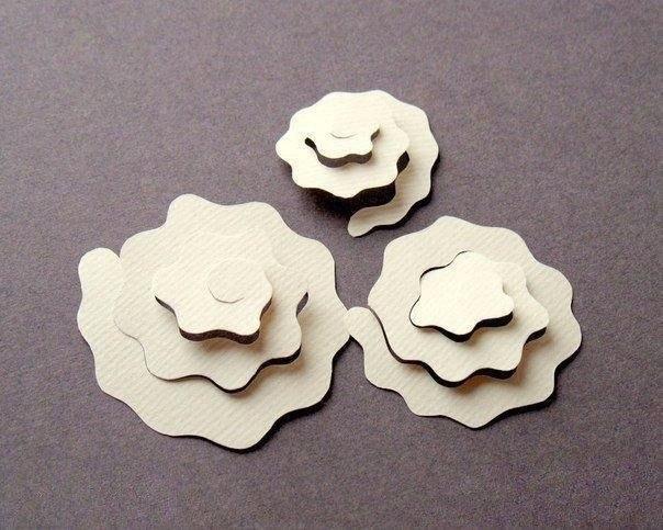 Объемные розы из бумаги для открыток