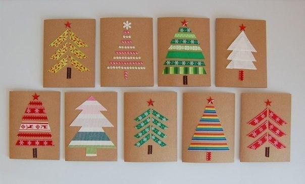 Идеи простых новогодних открыток