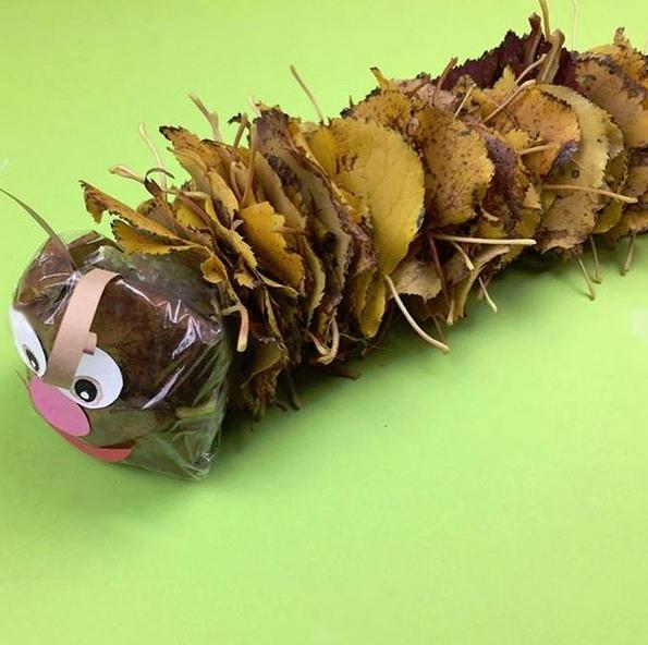 Поделки из листьев. симпатичная гусеничка
