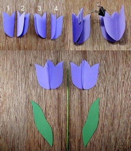 Поделки. тюльпаны в горшочке из бумаги.