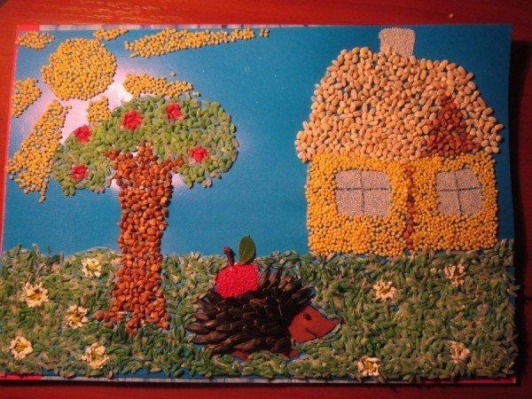 Занимаемся вместе с детками. поделки из круп и семян.
