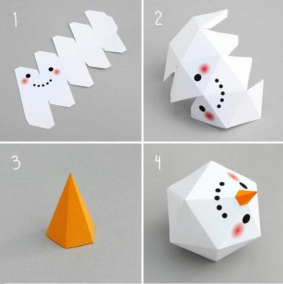 Снеговик из бумаги. шаблон