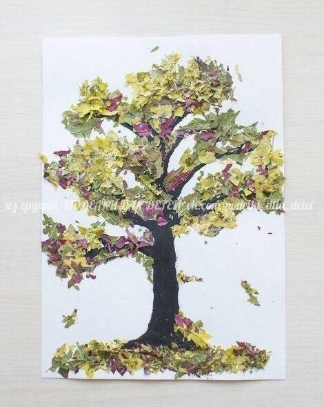"""Аппликация """"дерево"""" из крошки сухих листьев"""