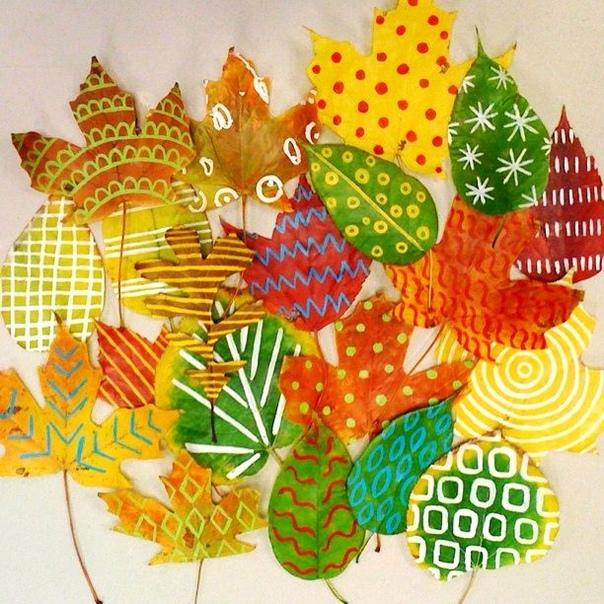 """Творческое занятие для малышей """"рисунки на листьях"""""""