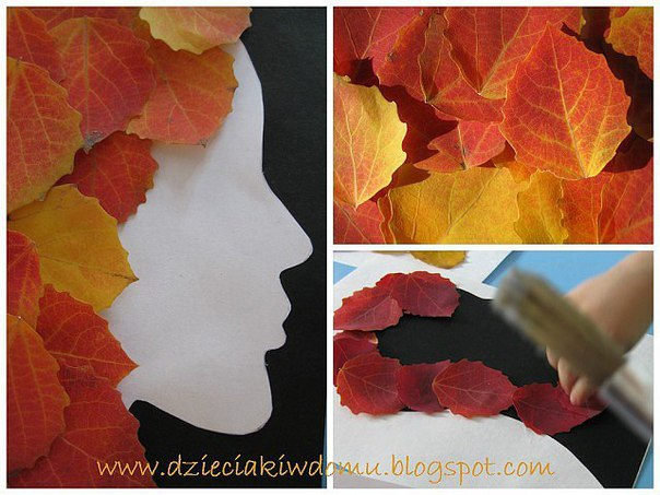 Поделки. портреты из осенних листьев.