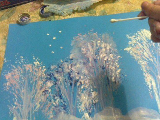 Рисуем зиму капустным листом