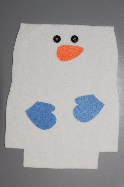 Новогодний снеговик-мешочек для сладостей за 20 минут