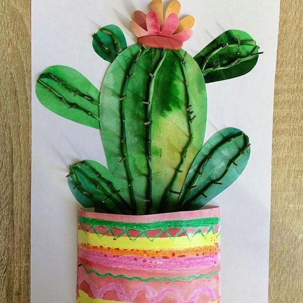 Объемный кактус. потребуется рисунок, пластилин и веточки