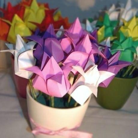 Тюльпаны в технике оригами