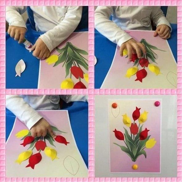 "Объёмная аппликация ""тюльпаны для мамы"". идея для творчества."