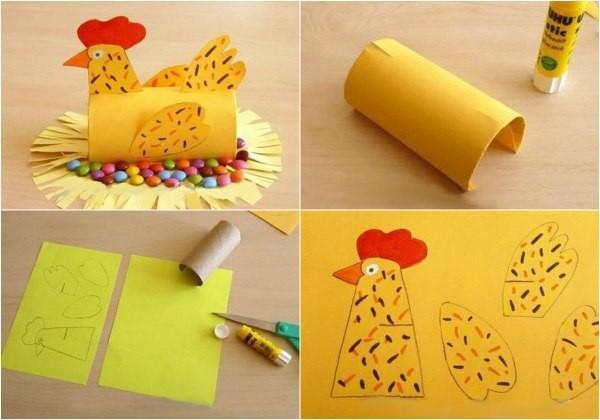 Курочка из цветной бумаги