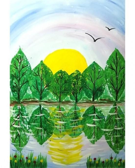 Рисуем с детьми простой пейзаж