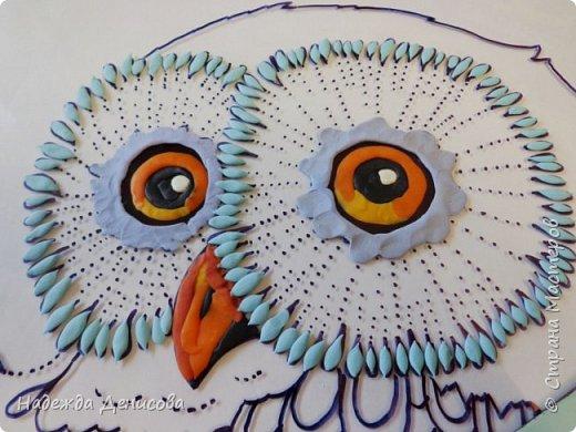 Снежная сова: рисуем пластилином