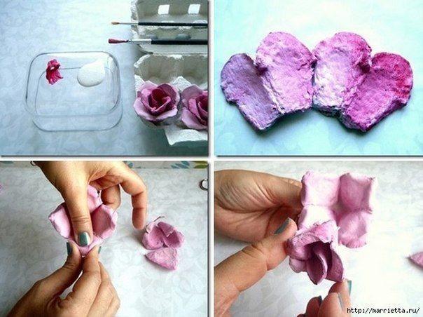 Розы из яичных лотков