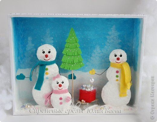 Семья объемных снеговиков