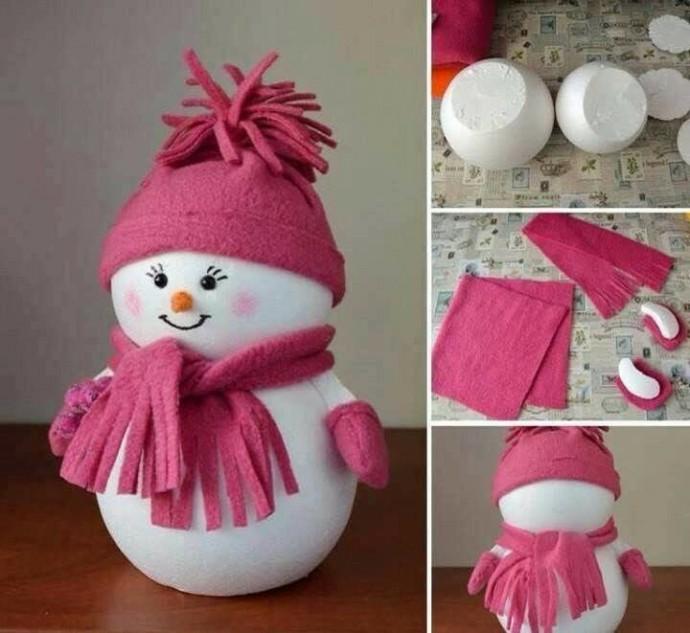 Снеговик из пенопластовых шариков 0