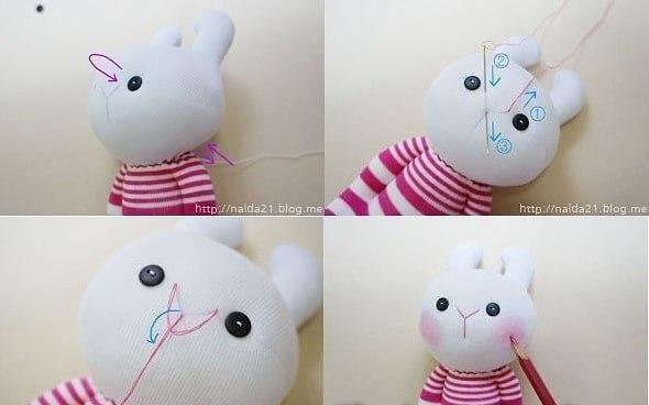 Игрушка кролик из носочков