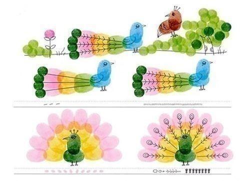 Милые рисунки детскими отпечатками пальчиков